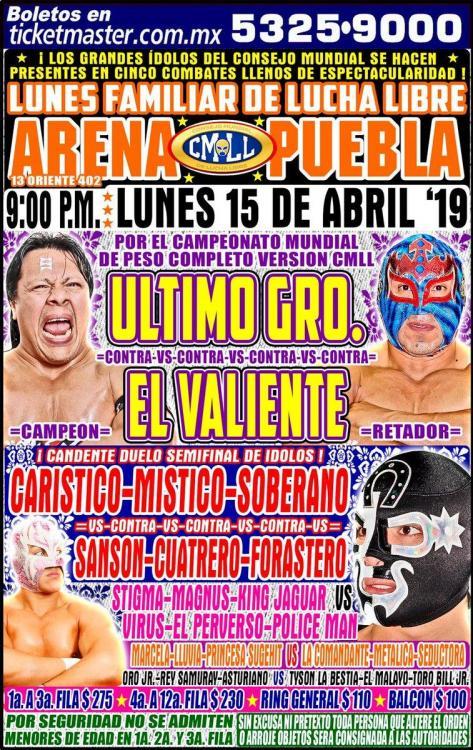 CMLL Lunes Arena Puebla (April 15, 2019)