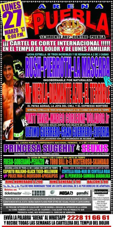 CMLL Lunes Arena Puebla (March 27, 2017)