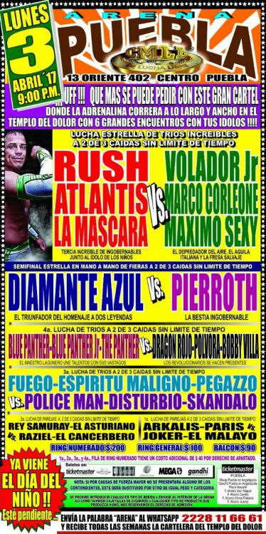 CMLL Lunes Arena Puebla (April 3, 2017)