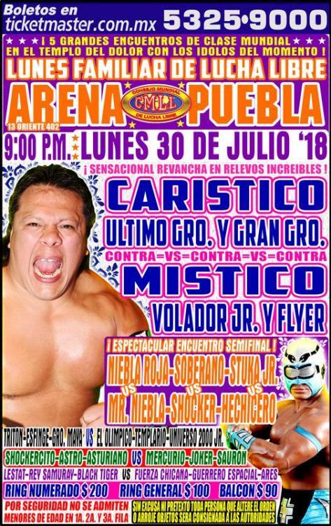 CMLL Lunes Arena Puebla (July 30, 2018)