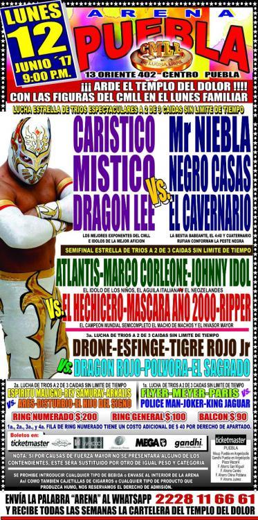 CMLL Lunes Arena Puebla (June 12, 2017)