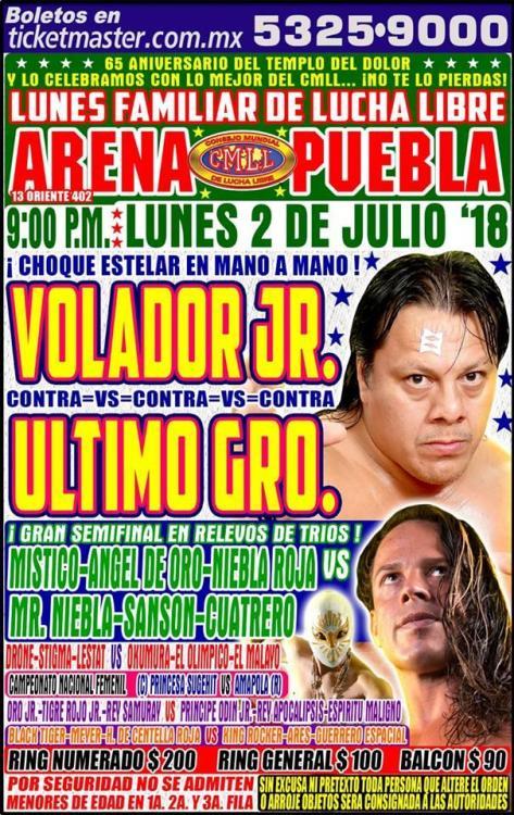 CMLL Lunes Arena Puebla (July 2, 2018)