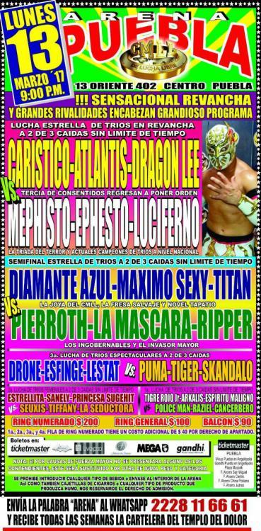CMLL Lunes Arena Puebla (March 13, 2017)