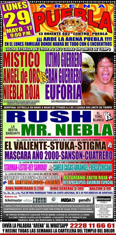 CMLL Lunes Arena Puebla (May 29, 2017)
