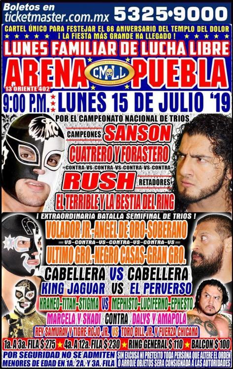 CMLL Lunes Arena Puebla (July 15, 2019)