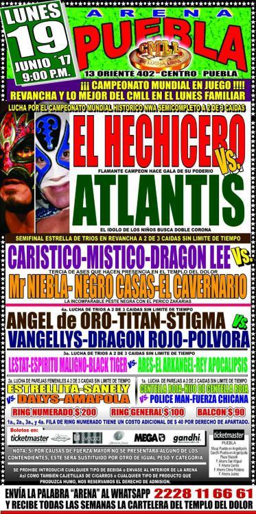 CMLL Lunes Arena Puebla (June 19, 2017)