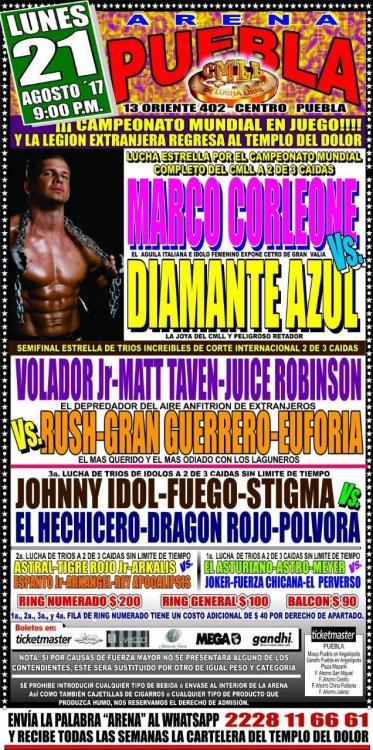 CMLL Lunes Arena Puebla (August 21, 2017)