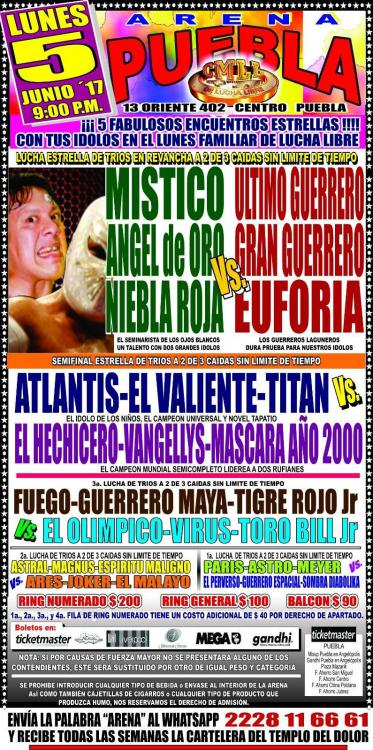 CMLL Lunes Arena Puebla (June 5, 2017)