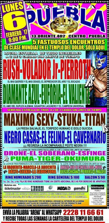 CMLL Lunes Arena Puebla (February 6, 2017)