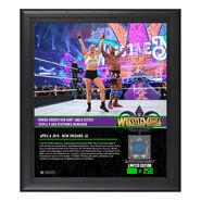 Ronda Rousey & Kurt Angle WrestleMania 34 15 x 17 Framed Plaque w Ring Canvas