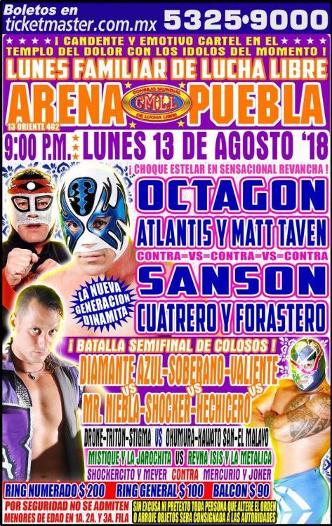 CMLL Lunes Arena Puebla (August 13, 2018)