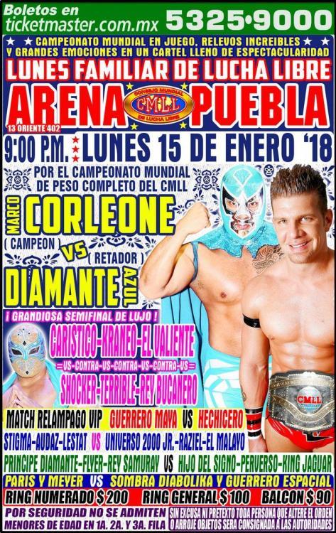 CMLL Lunes Arena Puebla (January 15, 2018)
