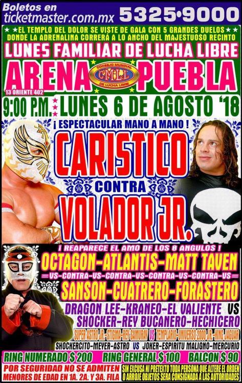CMLL Lunes Arena Puebla (August 6, 2018)