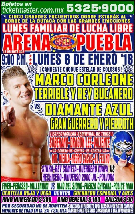 CMLL Lunes Arena Puebla (January 8, 2018)