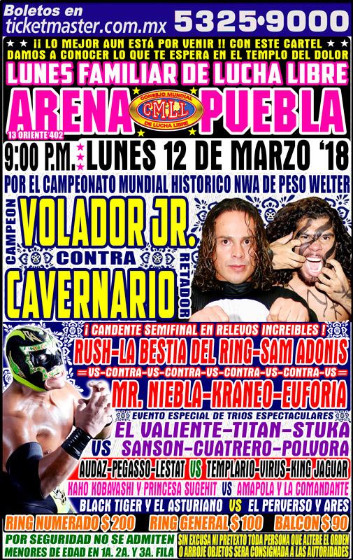 CMLL Lunes Arena Puebla (March 12, 2018)