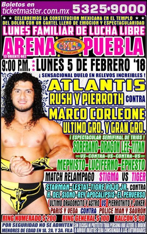 CMLL Lunes Arena Puebla (February 5, 2018)