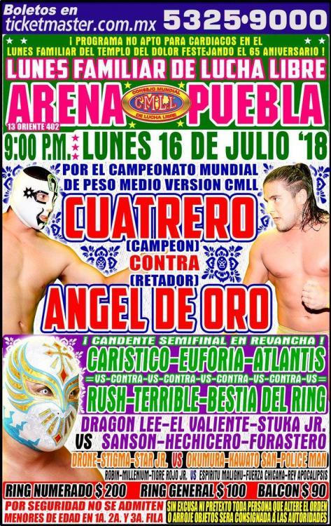 CMLL Lunes Arena Puebla (July 16, 2018)