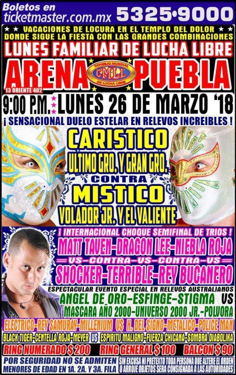 CMLL Lunes Arena Puebla (March 26, 2018)