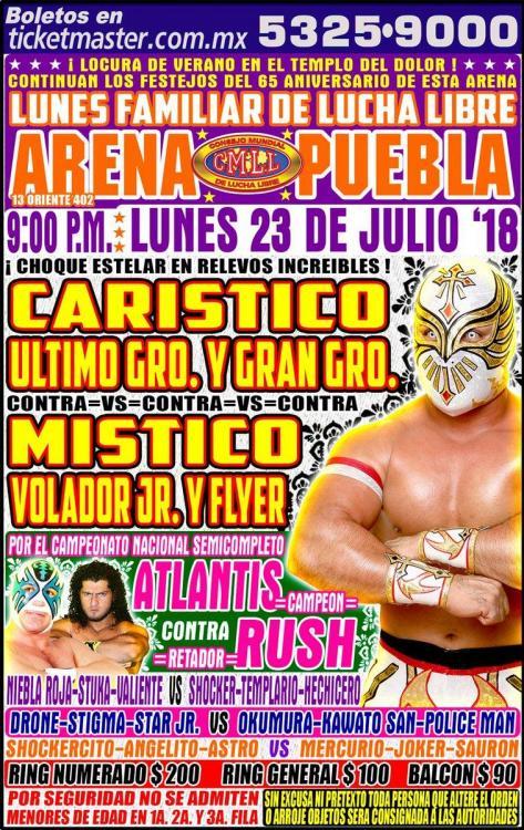 CMLL Lunes Arena Puebla (July 23, 2018)