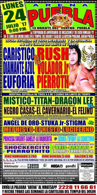 CMLL Lunes Arena Puebla (July 24, 2017)