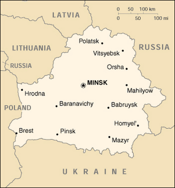 Mapa Białorusi (po rosyjsku, napisy łacińskimi literami).