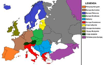 Mapa Europy z podziałem regionalnym. Pomarańczowy półwysep Iberyjski, czerwona Europa Płd., brązowa Europa Zach. zielona Europa Środkowa, szara Europa Wsch., żółte kraje bałtyckie, ciemnoniebieska Europa Płn., jasnoniebieskie Bałkany, ciemnozielone kraje alpejskie, oliwkowe Wyspy Brytyjskie, fioletowe inne państwa.