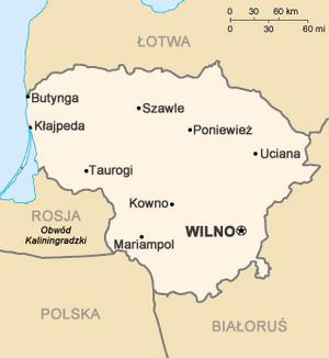Mapa Litwy z zaznaczonymi najważniejszymi miastami. Wersja spolszczona.