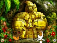 Kapłon z Reksiem przy Posągu Boga Twaroga