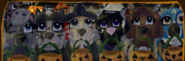 Kirse Martine Avalon Majla Kenshi Eyra Ray Shiraz Werix Kailey and Flurr trick or treating Ilustration from Evening Whispers
