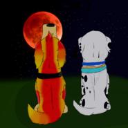 Martine and Dolly watching moon eclipse