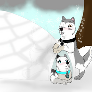 Arctic on top of an igloo and Via in igloo december challenge day 11
