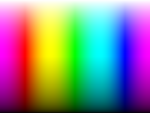 Approximation to the white light spectrum dispersed via an Edmund Scientific spectroscope or a 4×8 sheet of diffraction grating.