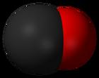 Space-filling model of the carbon monoxide molecule
