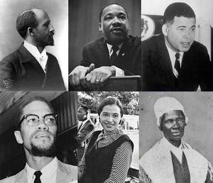 Top left: W. E. B. Du Bois; Top center: Martin Luther King, Jr.; Top right: Edward Brooke; Bottom left: Malcolm X; Bottom center: Rosa Parks; Bottom right: Sojourner Truth