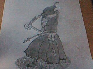 My Dervish with some improvised armor and a weapon I was going to submit to the Design a Weapon contest