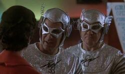 "Sam leaps into ""Future Boy"", the sidekick of 50's TV superhero Captain Galaxy (Richard Herd, right), ""Future Boy"" in Season 3."