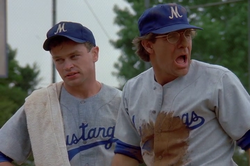 """Sam, as former big leauge picther """"Doc"""" Fuller (right) to help Chucky Myerich (Neal McDonough, left) a younger and angrier minor league player get into the major leagues, while not hindering his leapees attempt to get back there in """"Play Ball"""" in Season 4 (ep.#2)."""