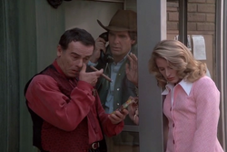 """Sam leaps into Gordon O'Reilly, a bounty hunter who is handcuffed to a female fugitive (Jane Sibbett) who will do anything to escape from him in """"A Hunting We Will Go"""" in Season 3."""