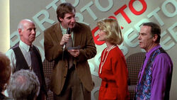 "Sam as talk show host ""Roberto"" Guitierrez in the so-titled episode ""Roberto!"" in Season 4."