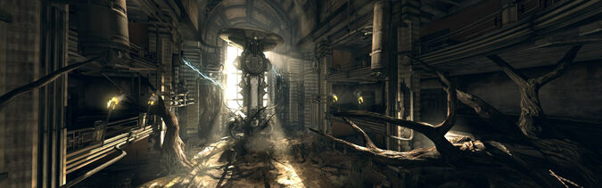The home base of the Gearheads, one of the Wasteland's most intelligent factions. Besides being heavily armored, these bandits do their fighting with mechanized weapons like Sentry Bots, and traps strewn across the base mean you must think before each and every step.