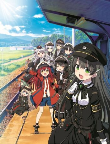A group of school-age teen cartoons crowded beside a railroad track, with verdant fields, mountains, and a blue sky in the background.