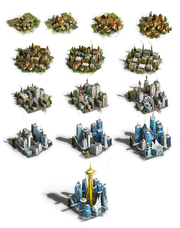 Overview of all different city sizes, including Mega City