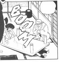 Akane tira la taula