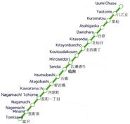Sendai City Subway Map
