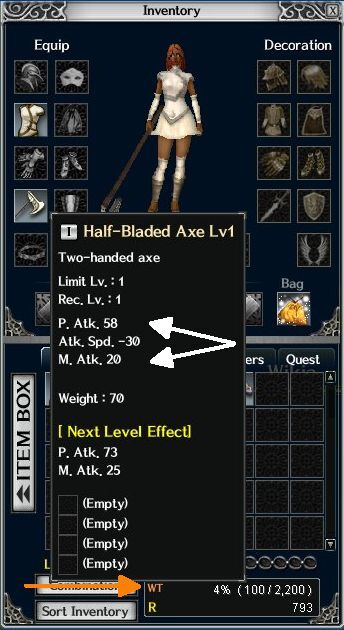 Alt+I opens this Inventory window