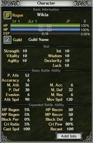 Alt+C opens this Character window