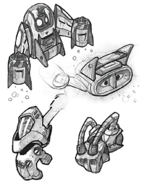 Hydro-Pack and Gloves from R&C (2002) concept art