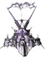 Qwark's headquarters from R&C (2002) concept art 1