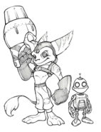Ratchet and Clank from R&C (2002) concept art