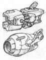 Visibomb and Suck Cannon from R&C (2002) concept art